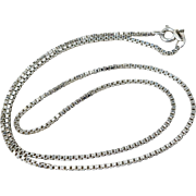 "Sterling Silver 18"" Long 1.4mm Italian Box Chain Necklace"