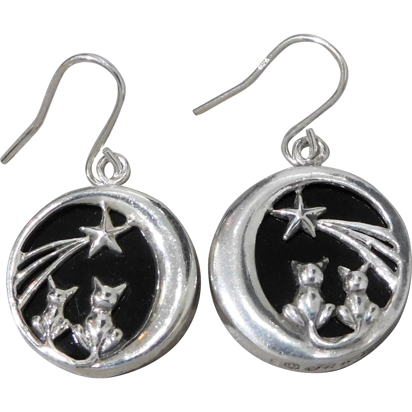 Jezlaine Sterling Silver Kitty Cat Shooting Star Onyx Pendant Earrings