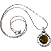 "Italian Sterling Silver 18"" Long Snake Chain & Tigers Eye Necklace Pendant"