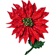 Fabulous 1960s Christmas Enameled Metal Poinsettia Flower Brooch