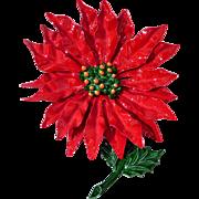 Fabulous 1960s Enameled Metal Poinsettia Flower Brooch
