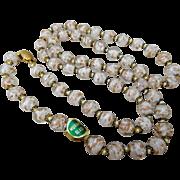 Vintage Italian White & Aventurine Venetian Murano Cased Art Glass Bead Necklace