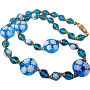 Vintage Italian Venetian Murano Blue Millefiori Art Glass Bead Necklace
