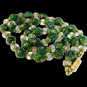 Vintage Emerald Green Millefiori Venetian Murano Art Glass Bead Necklace