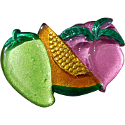Vintage Artisan-Created Fruit & Vegetable Lucite Brooch