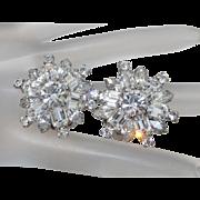 Vintage Weiss White Crystal Rhinestone Rhodium Plated Clip Earrings