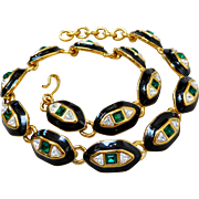 Vintage Monet Gold Plated Emerald-Color Crystal Collar Necklace