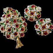 Vintage Sphinx Red Crystal Rhinestone Poinsettia Christmas Tree Brooch & Earrings