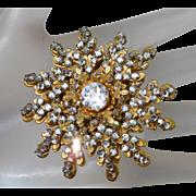 Vintage Miriam Haskell Rose Monteé Crystal Rhinestone Flower Brooch.