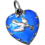Vintage Sterling Silver & Blue Enamel Puffy Heart Charm with Dove