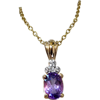 Italian Gold Overlay Sterling Silver Amethyst & Diamond Necklace