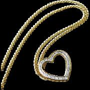 Italian Gold Overlay Sterling Silver Diamond Heart Pendant Necklace.