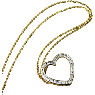 Italian Gold Overlay Sterling Silver Diamond Heart Pendant Necklace.