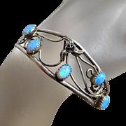 Vintage Navajo Sterling Silver & Fire Opal Filigree Cuff Bracelet