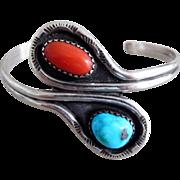 Vintage Southwest Turquoise & Coral Snake Cuff Bracelet