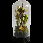 Artist OOAK Dollhouse Miniature Glass Double Butterfly Dome Curio 1:12