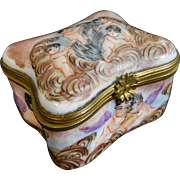 Antique Capodimonte Porcelain Trinket Box with Cherubs