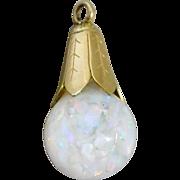 Vintage 10K Gold Filled Floating Opal Necklace Pendant