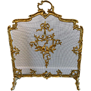 Antique Footed Ormolu Fireplace Screen With Bird Accents