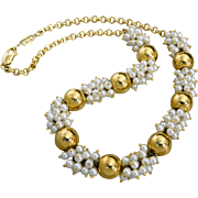 Vintage Italian Gold Overlay Sterling Silver & Pearl Cluster Necklace.
