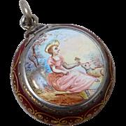 Antique Sterling Silver Enamel Vinaigrette Featuring 18th Century Lady & Lamb