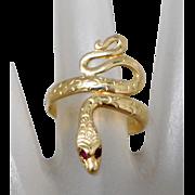 Estate 14K Yellow Gold Snake Ring with Garnet Eyes, Size 8