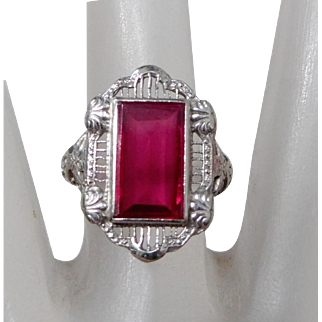 Vintage 14K White Gold Filigree Ring with Ruby-Color Red Stone, Size 7