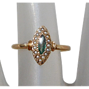 Antique 10K Gold Georgian Ring with Green Stone & Seed Pearls, Size 6 1/2