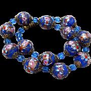 Vintage Italian Venetian Murano Blue Wedding Cake Rose Art Glass Bead Necklace