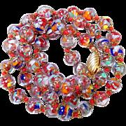 Vintage Italian Venetian Murano Confetti Art Glass Bead Necklace