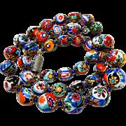 Vintage Italian Venetian Murano Millefiori Art Glass Bead Necklace
