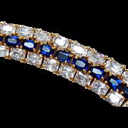 Sterling Silver Vermeil CZ & Sapphire-color Crystal Tennis Bracelet