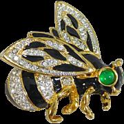 Vintage Kenneth Lane Enamel & Pave Crystal Bumble Bee Brooch