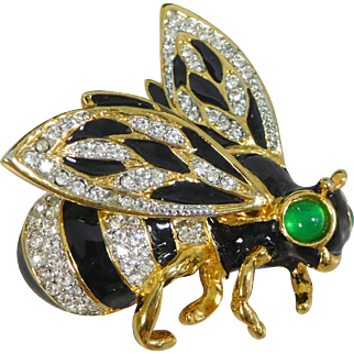 Vintage Kenneth Lane Enamel & Pave Crystal Bumble Bee Brooch