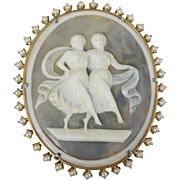 Antique Victorian Goddess Shell Cameo Seed Pearl Brooch Pendant