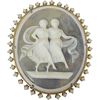 Antique Victorian 14K Gold Goddess Shell Cameo Seed Pearl Brooch Pendant