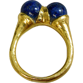Estate 21K Gold Egyptian Revival Lapis Lotus Blossom Ring, Size 9 1/4