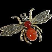 Vintage Sterling Silver Carnelian & Marcasite Queen Bee Brooch, Germany