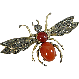 Vintage Sterling Silver Carnelian & Marcasite Queen Bee Brooch, Germany