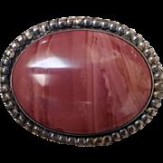 Vintage Southwest Pink Jasper & Sterling Silver Bolo Tie Centerpiece