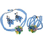 Early Miriam Haskell Art Glass Flower Bouquet Necklace, Bracelet & Earrings Set