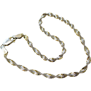 Italian Sterling Silver & Gold Overlay Magic Twisted Chain Bracelet
