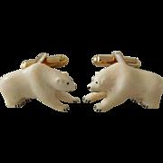 Vintage Carved 3D Polar Bear Cufflinks
