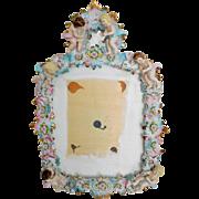 Vintage Capodimonte Porcelain Cherub Wall Mounted Mirror
