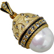 Vintage 24K Gold Plated Sterling Silver Jonquil Enamel, Glass Pearl & Crystal Russian Egg Pendant