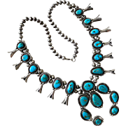 Vintage Sterling Silver Native American Cyprus Sierrita Turquoise Squash Blossom Necklace