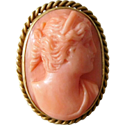 Antique Victorian 10K Gold & Natural Salmon Coral Cameo Ring, Size 5