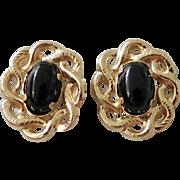 Estate 14K Yellow Gold Black Onyx Celtic Knot Stud Earrings
