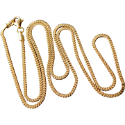"""Italian Gold Overlay Sterling Silver 1.5mm Box Chain Necklace 21 1/2"""""""