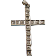 Vintage 14K White Gold & Diamond Cross Necklace Pendant